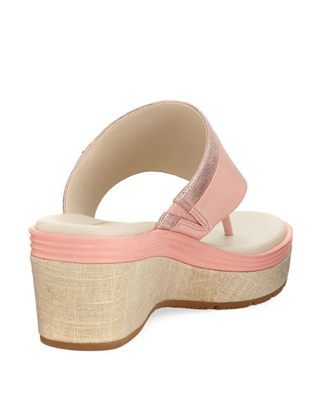 Cecily Grand Thong II Wedge Sandal, Coral Almond