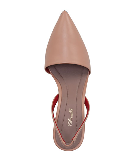 Mortelle Slingback Leather Pump, Beige
