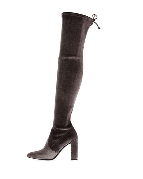 Highchamp Stretch Velvet Over-the-Knee Boot
