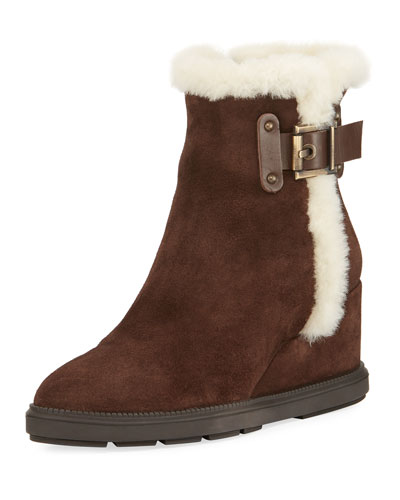 Caitlyn Fur-Trim Wedge Boot