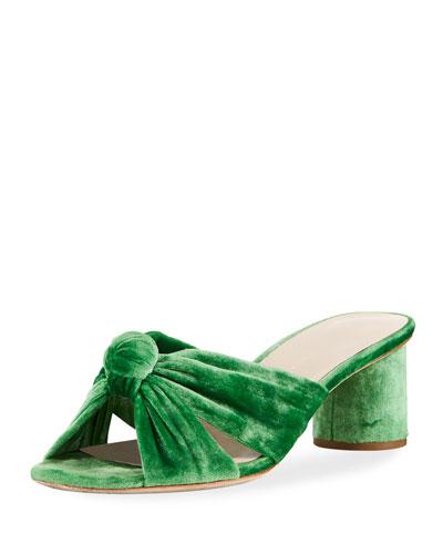 Celeste Crushed Velvet Block-Heel Slide Sandal