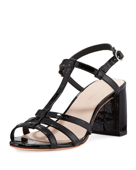 Elena Shiny Crocodile-Embossed T-Strap Block-Heel Sandal