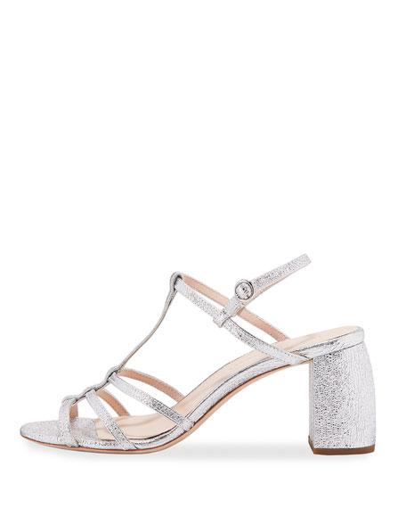 Elena Crinkle Metallic T-Strap Block-Heel Sandal
