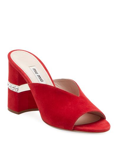 85mm Block-Heel Suede Slide Sandal