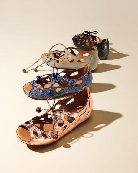 Brynn Snake-Embossed Lace-Up Sandal