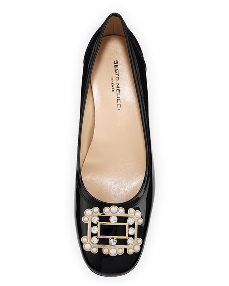 Heda Pearly Embellished Pumps, Black