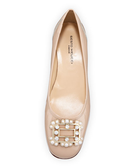 Heda Pearly Embellished Pumps, Ecru