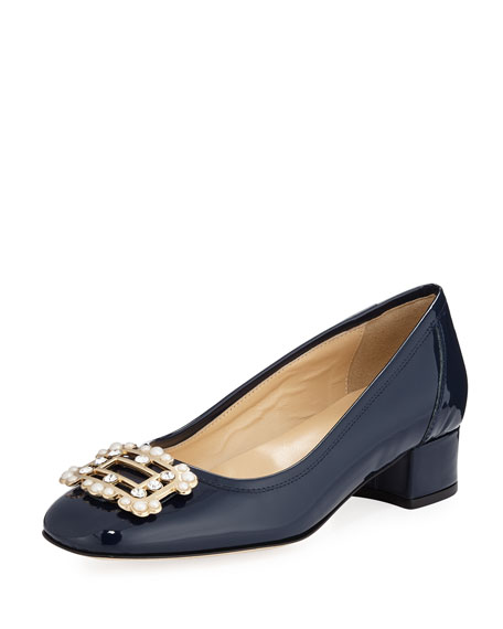 Heda Pearly Embellished Pump, Navy