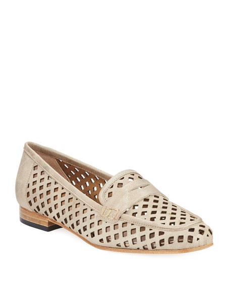 Sesto Meucci Mela Perforated Murales Metallic Leather Loafer