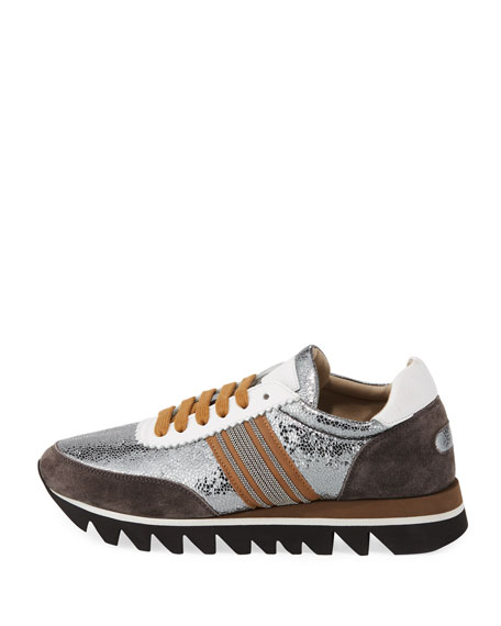 Metallic Leather Runner Sneakers