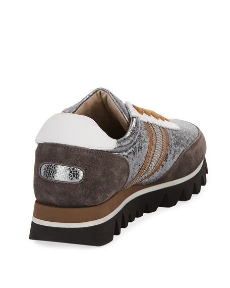 Metallic Leather Runner Sneakers