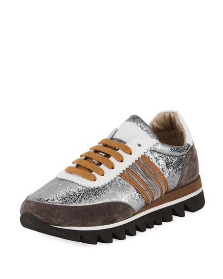 Metallic Leather Runner Sneakers, Graphite