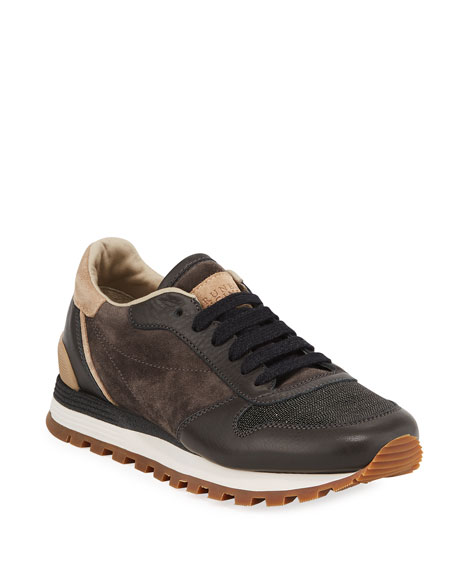 Suede/Leather Monili-Toe Trainer Sneakers