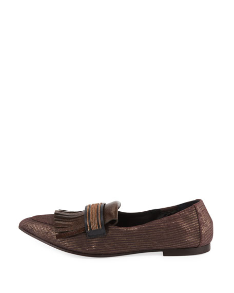 Metallic Leather kiltie Loafer Flat
