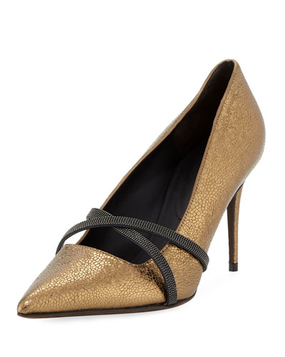 85mm Metallic Leather Cross-Strap Pump