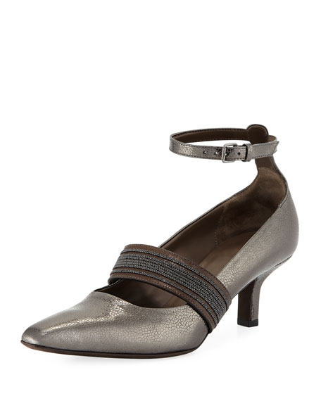 55mm Metallic Leather Ankle-Wrap Pumps