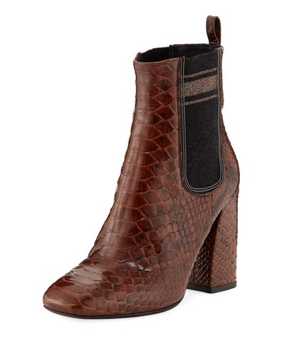 100mm Python Chelsea Booties