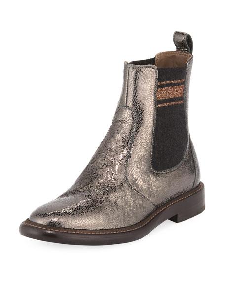 Metallic Leather Chelsea Booties