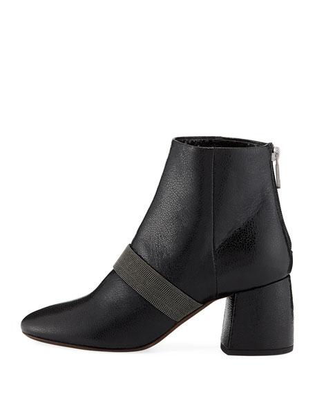 Shiny Leather Block-Heel Zip Bootie with Monili