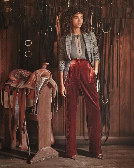 Shiny Leather Block-Heel Zip Booties with Monili