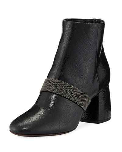 Shiny Leather Block-Heel Zip Bootie with Monili