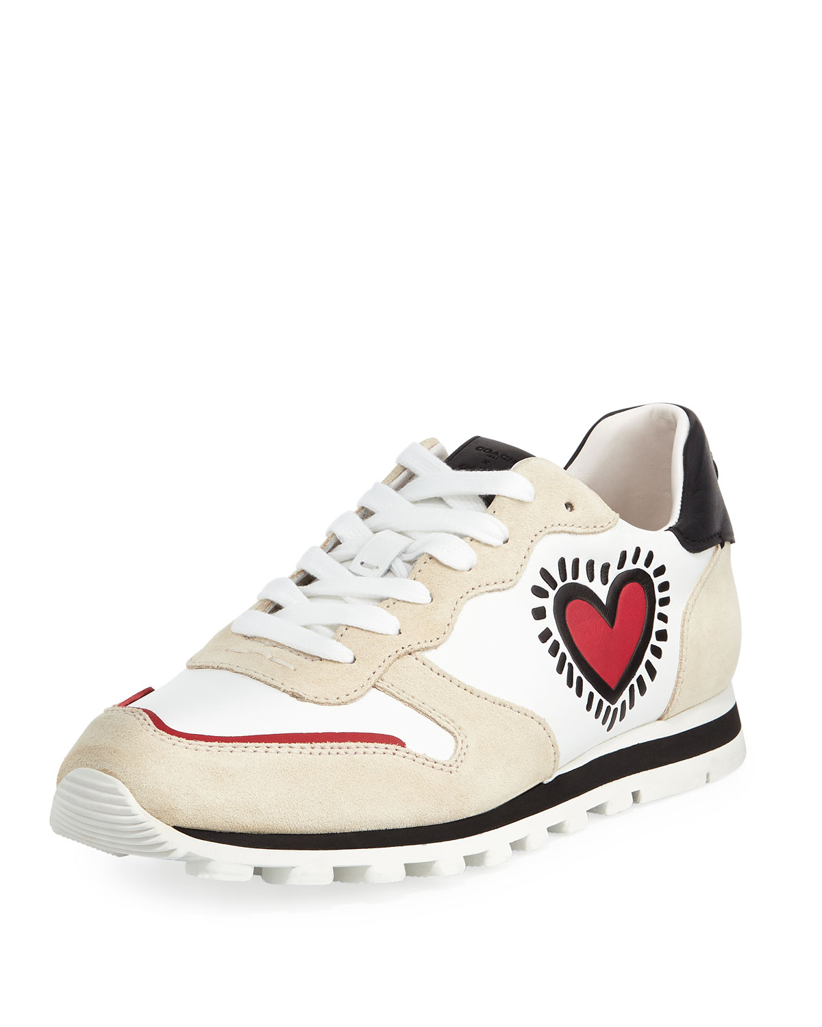 b0804a180d34 Coach x Keith Haring Heart Runner Leather Suede Sneaker