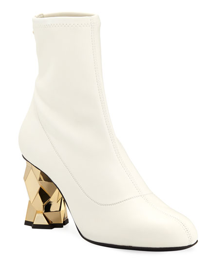 Leather Stretch 80Mm Block-Heel Booties in Bianco