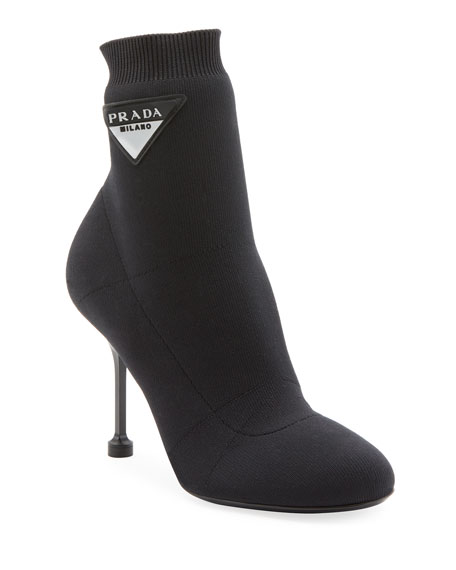 Logo-Appliquéd Stretch-Knit Sock Boots in Black