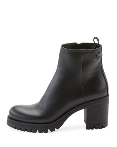 Leather Lug-Sole Platform Bootie