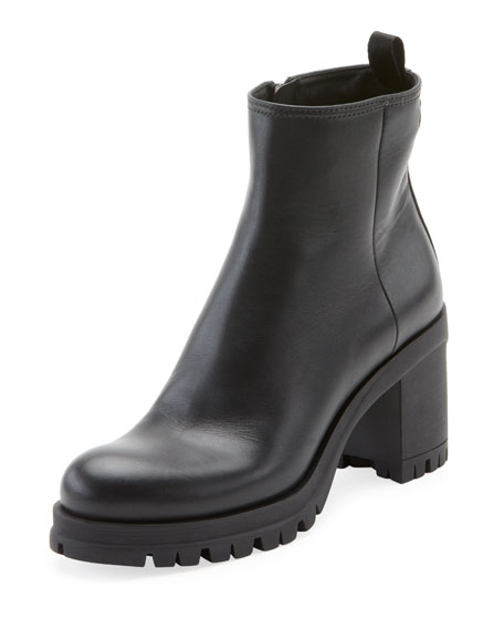 Prada Leather Lug-Sole Platform Bootie