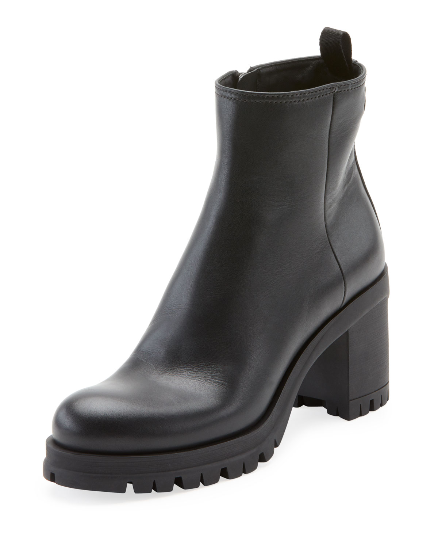 8a479b0f9370 Prada Leather Lug-Sole Platform Booties