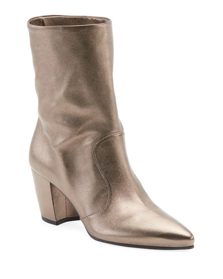 Western Metallic Pointed Booties, Titanio