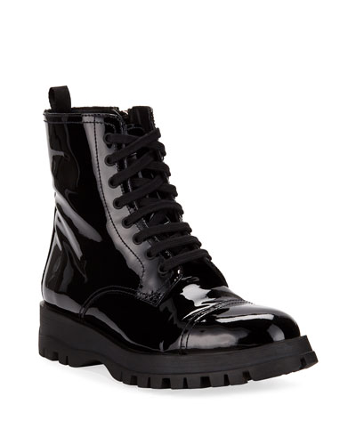 Patent Leather Lace-Up Boot