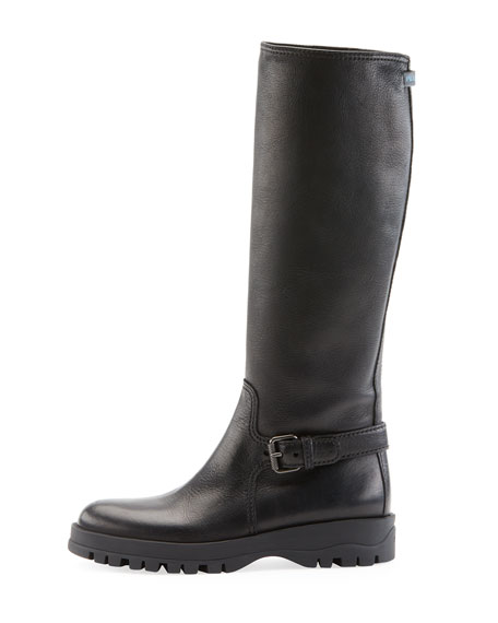 Leather Knee-High Riding Boot