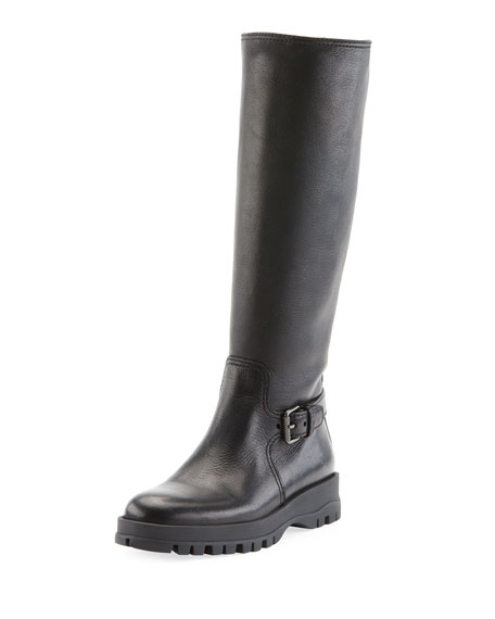 Prada Leather Knee-High Riding Boot