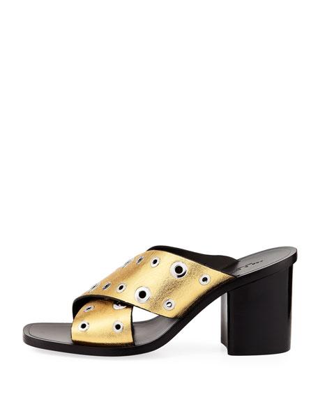 Paige Crisscross Slide Sandals, Gold