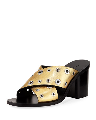 Rag & Bone Paige Crisscross Slide Sandal, Gold