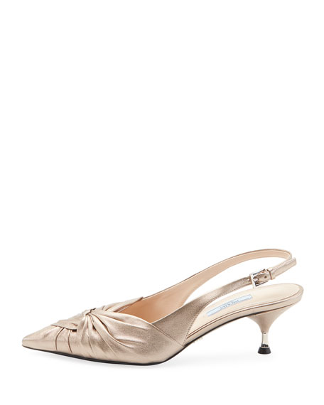 Ruched Metallic Leather Pumps