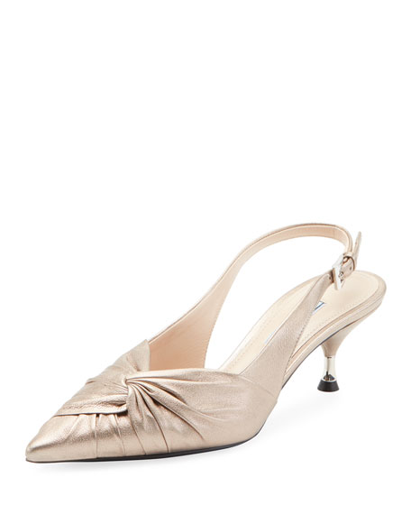 Prada Ruched Metallic Leather Pump