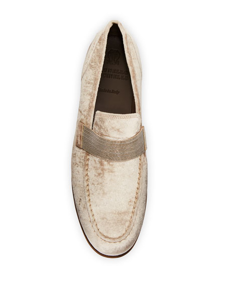 Flat Metallic Velvet Loafer