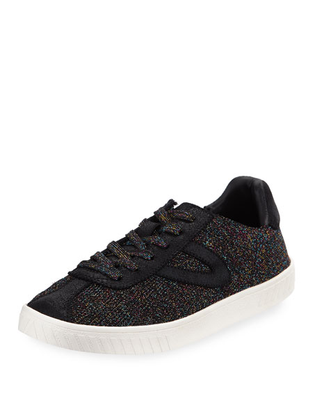 Women'S Glitter Knit Lace Up Sneakers in Black