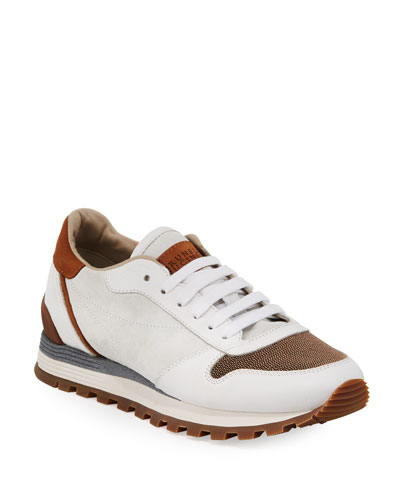 Suede and Leather Runner Sneakers