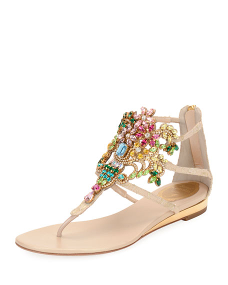 Embellished Lace Leather Sandal, Beige
