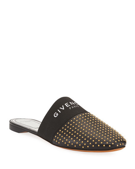 Givenchy Bedford Flat Studded Leather Logo-Web Mules