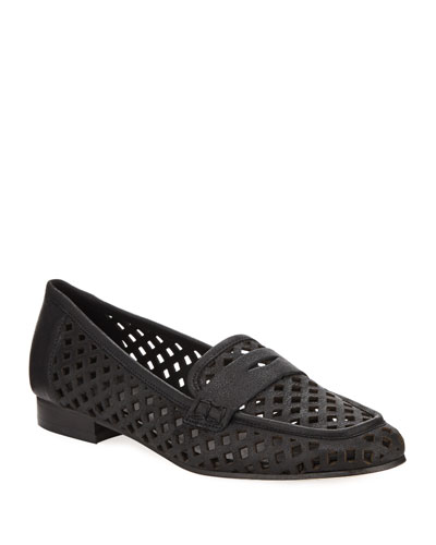 Mela Perforated Murales Leather Loafer