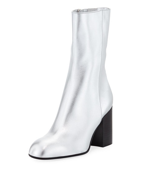 LAURENCE DACADE 90Mm Sailor Metallic Leather Boots in Silver