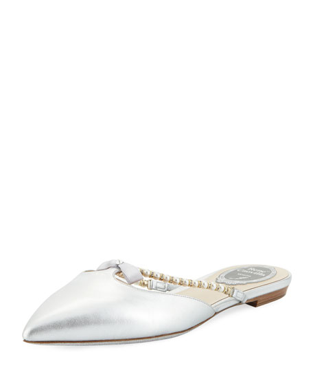 Rene Caovilla Flat Metallic Leather Mule with Bow