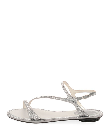 Strass Flat Strappy Sandals, Silver
