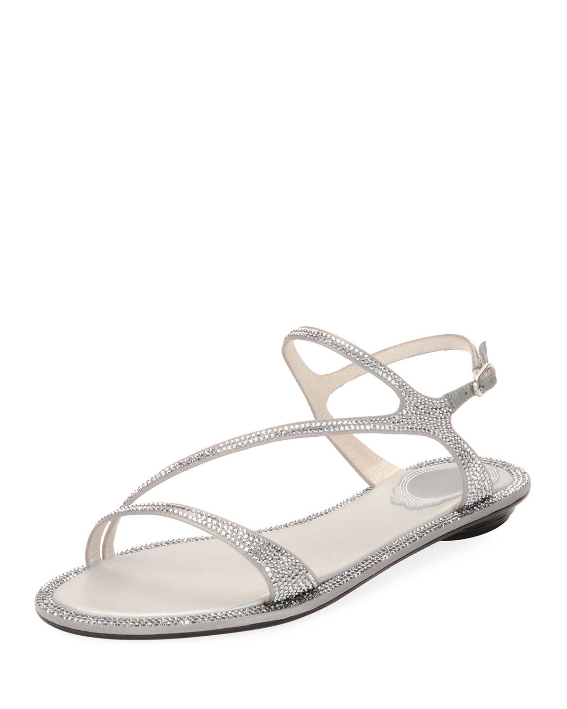 3d18f052967c72 Rene Caovilla Strass Flat Strappy Sandals