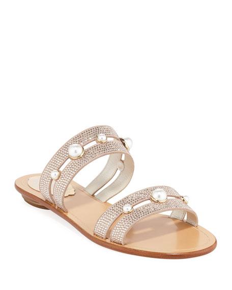 Rene Caovilla Akiko Flat Embellished Slide Sandals